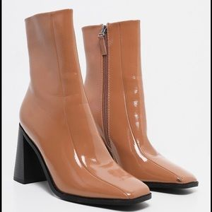 Prettylittlething Taupe/Tan Square Toe Boots